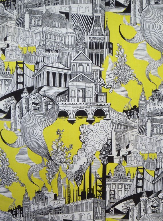 Black White and Yellow Smokestack City Pure by fabricsandtrimmings, $9.98