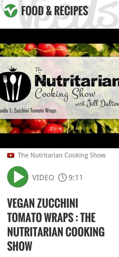 Vegan Zucchini Tomato Wraps : The Nutritarian Cooking Show   #nutritarian #cooking   http://veeds.com/i/OPmqFBbDQKoY5Yft/jummy/