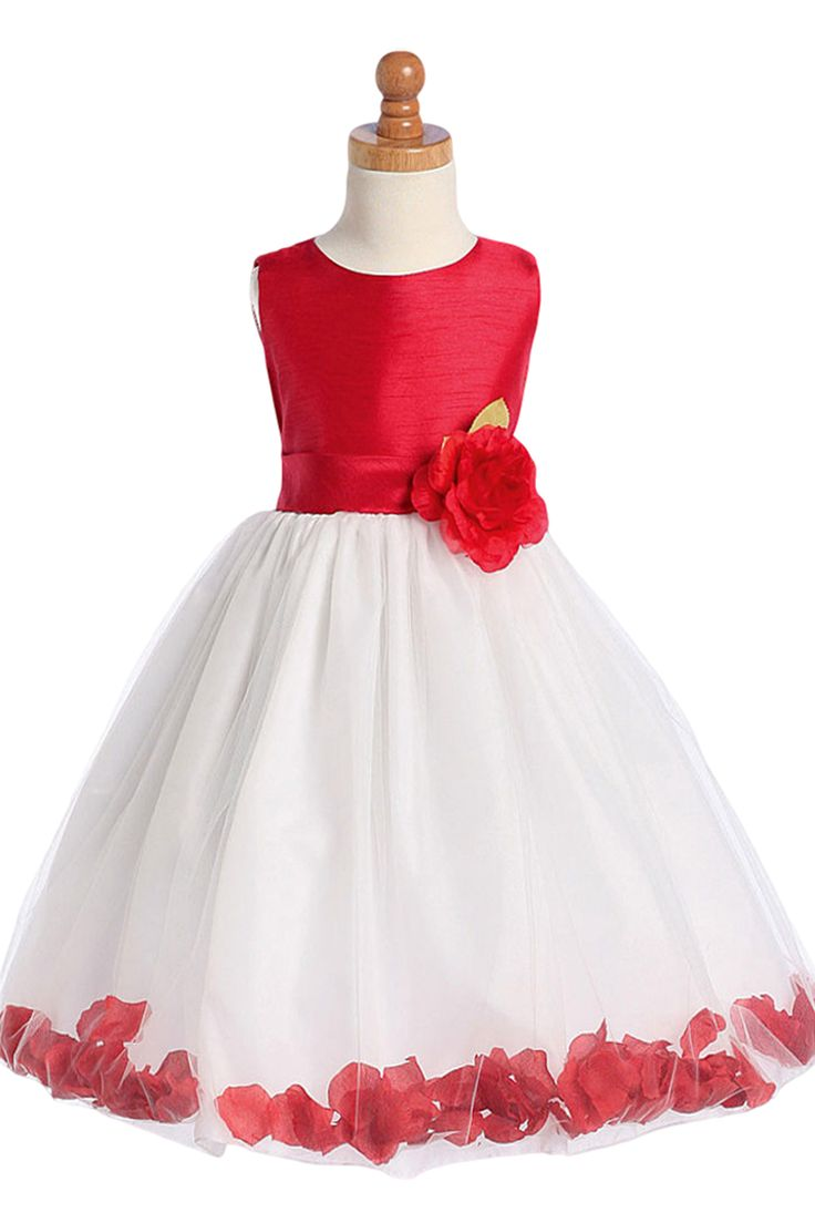 Red Shantung & White Tulle Blossom Flower Girl Dress with Floating Flower Petals (Girls 2T - Size 12)