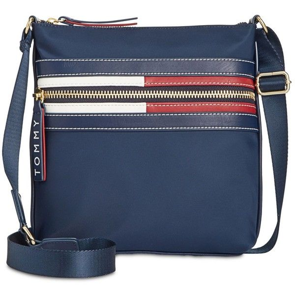 Tommy Hilfiger Portia Small Crossbody ($118) ❤ liked on Polyvore featuring bags, handbags, shoulder bags, tommy navy, navy blue crossbody, navy blue handbags, navy blue purses, crossbody purse and navy blue shoulder bag