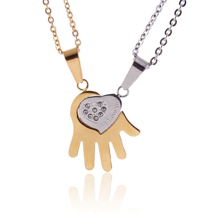 2pcs Set His and Hers Precious in My Hand Jigsaw Puzzle Pendant Necklace NL-2481 #Welldone #Pendant