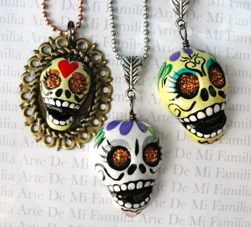 SUGAR SKULL BEADS by ArteDeMiFamilia.deviantart.com on @deviantART