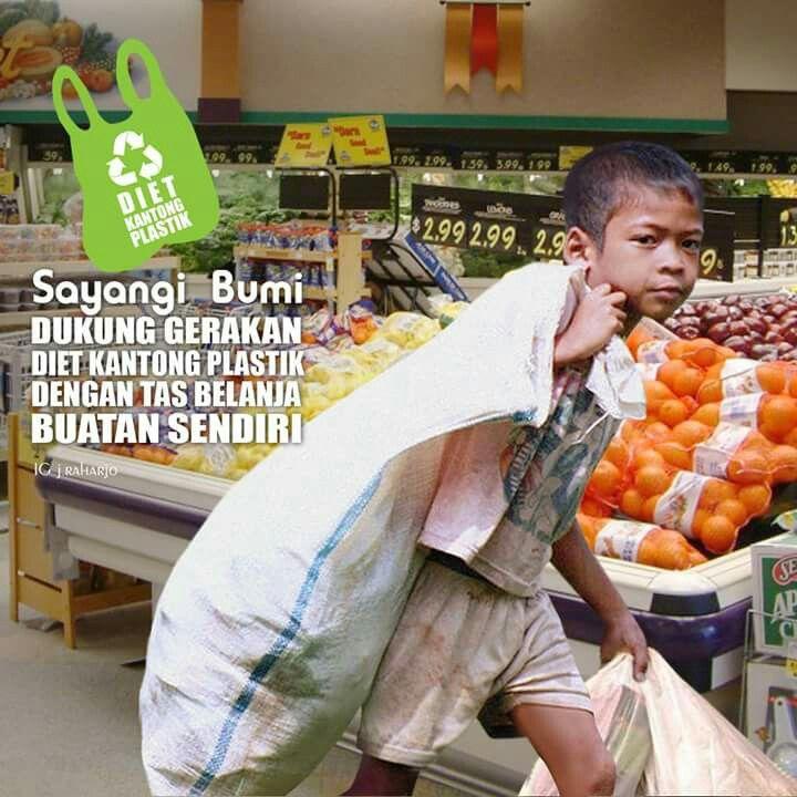 kantong belanja buatan sendiri!  bawa karung beras biar muat banyak blanjaannya