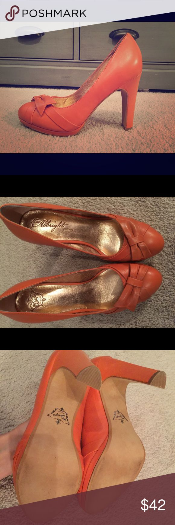 New, Anthropologie, women's pumps, size 7 These adorable orange, leather pumps from Anthropologie, have never been worn and are perfect for the fall!  The insoles are very soft and cushioned.  The cute bow adds a feminine touch. Shoes Heels