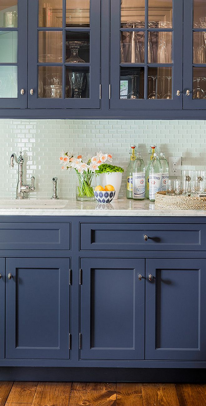 "Like the tiles on this one!  Kitchen cabinetry is painted in Farrow and Ball's ""Drawing Room Blue""."