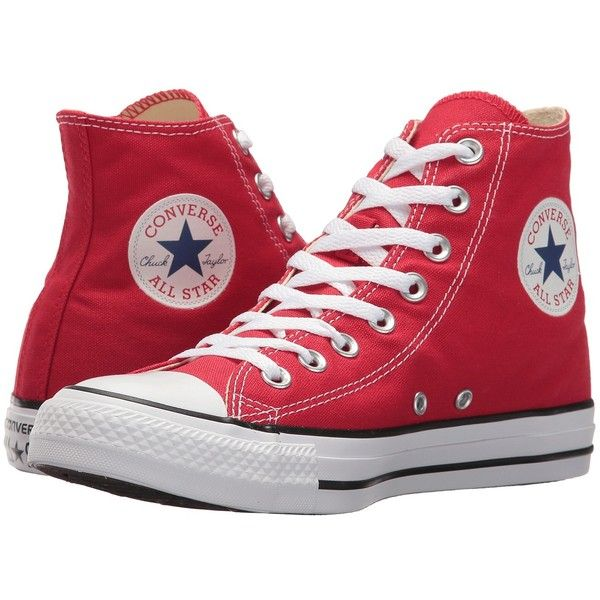 Converse Chuck Taylor(r) All Star(r) Core Hi (Red) Classic Shoes ($55) ❤ liked on Polyvore featuring shoes, sneakers, canvas sneakers, red canvas sneakers, red high top sneakers, star sneakers and red canvas shoes