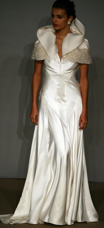 Chiffon rose embroidered column gown with fluted skirt...my favorite neckline