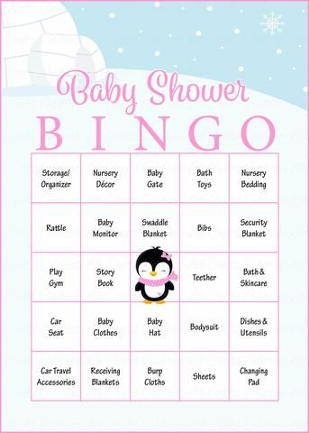 Winter Baby Bingo Cards - Printable Download - Prefilled - Baby Shower Game for Girl - Pink Penguin