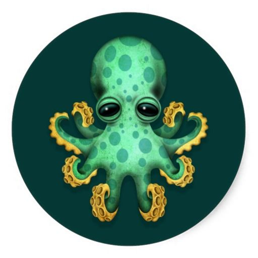 Cute green baby octopus on teal blue stickers