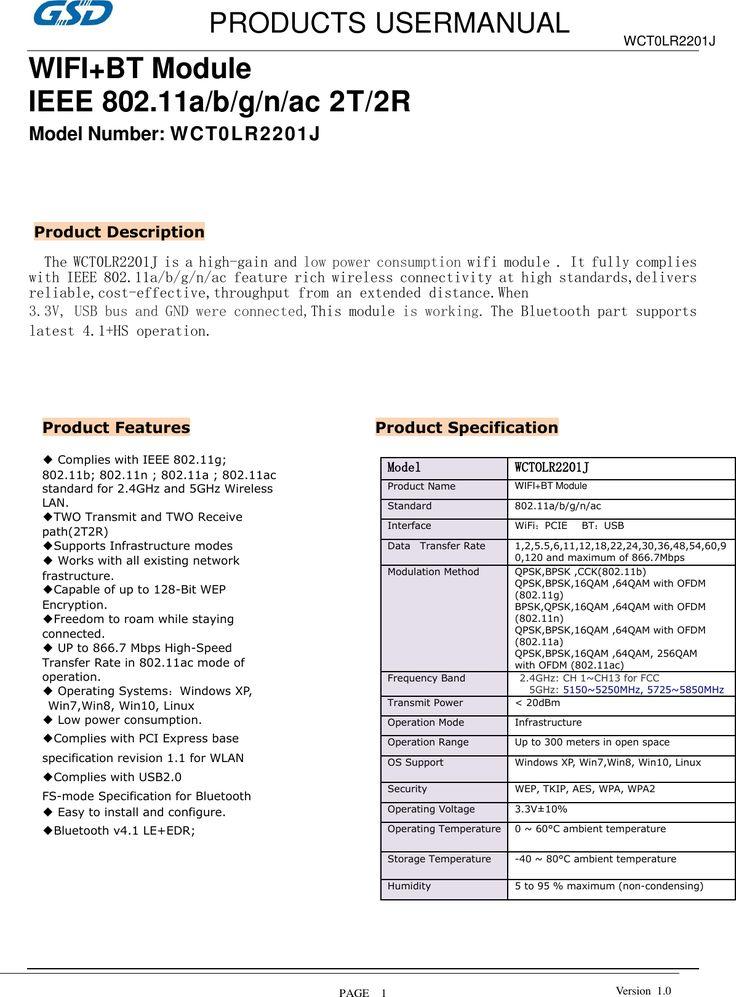 WCT0LR2201J Users Manual revised ED20GMUser s manual