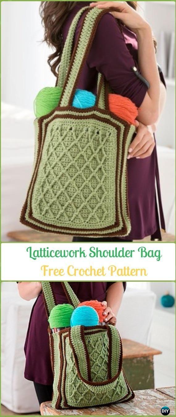 Crochet Latticework Shoulder Bag Free Pattern - Crochet Handbag Free Patterns Instructions