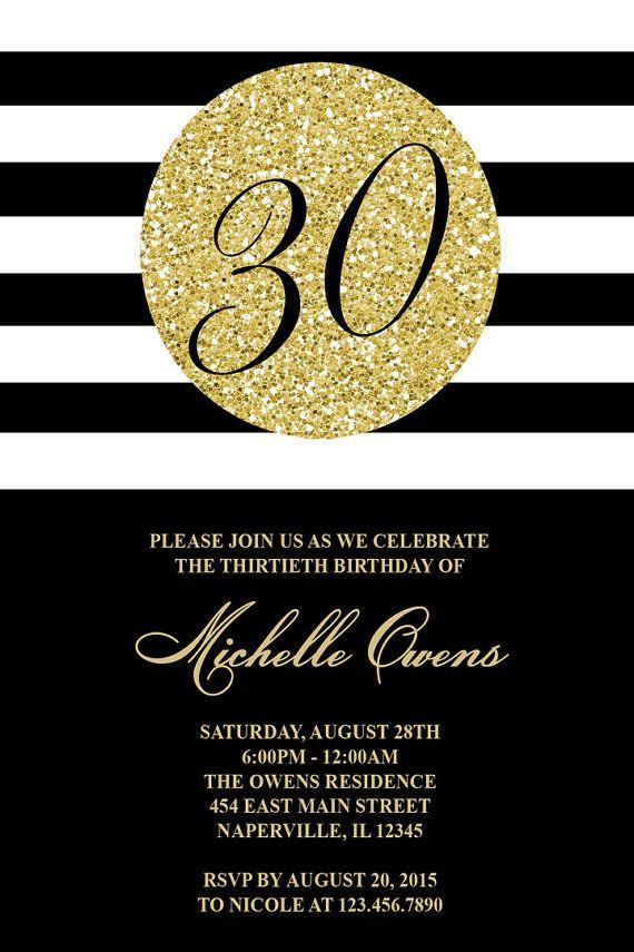 Gold 30th Birthday Party Invitation Black and White par Honeyprint