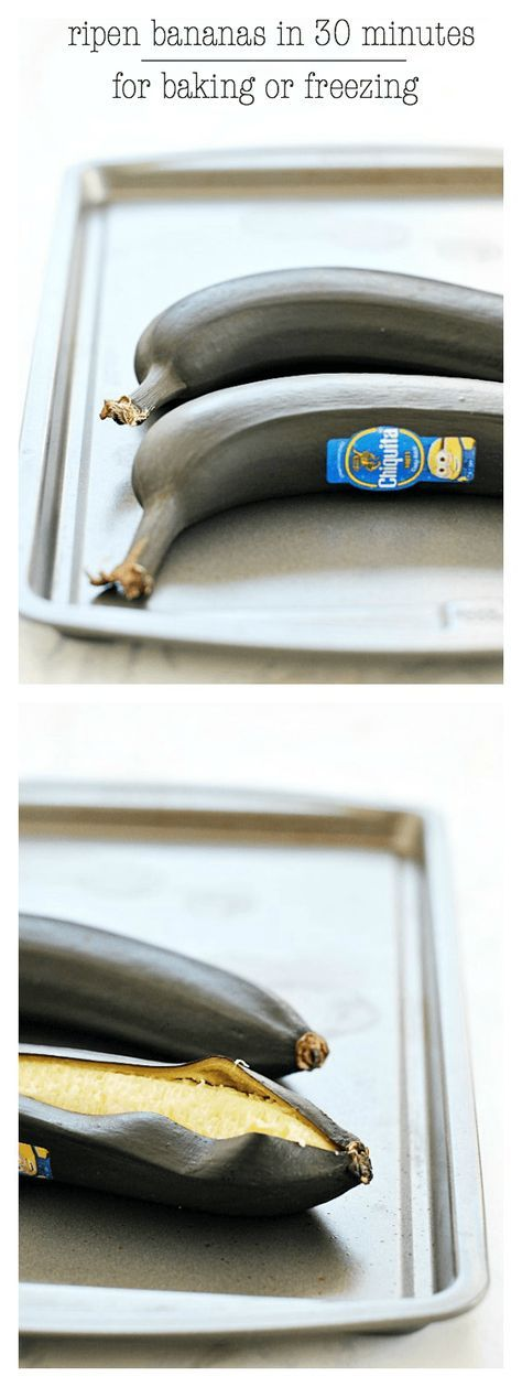 How to Ripen Bananas in 30 Minutes for Baking or Freezing | www.somethingswanky.com ME: This worked for making my banana sheet cake. I still prefer to have the bananas ripen on their own, but I would definitely do this again if I needed to!