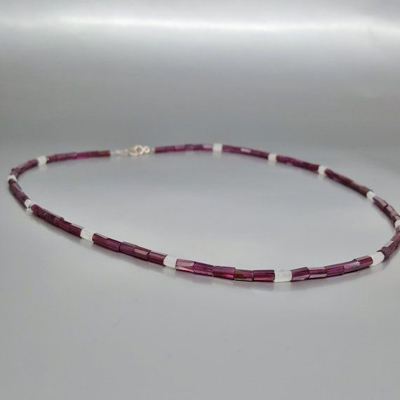 Fine necklace Garnet and Moonstone with Sterling silver - gift idea - holiday season by gemorydesign. Explore more products on http://gemorydesign.etsy.com