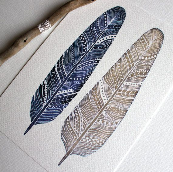 Patterned Feather Painting - Watercolor Art - Large Archival Print - 11x14 Amethyst Feathers. $40.00, via Etsy.