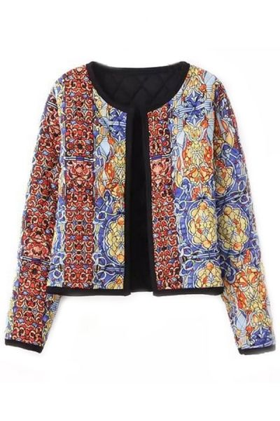 Women's Fashion Clothing #Classic Tribal Pattern Quilting #Cropped #Jacket - OASAP.com