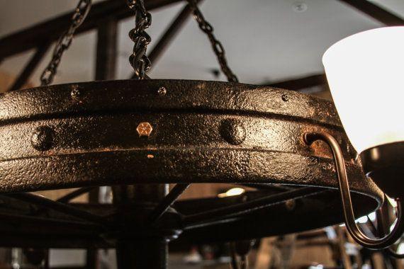 Antique Wagon Wheel Chandelier by NorthwoodsMarket on Etsy