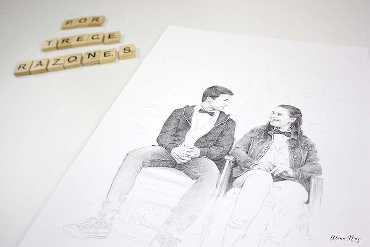 Dibujo a lápiz y acuarela serie Por trece razones Almu Ruiz. Pencil drawing