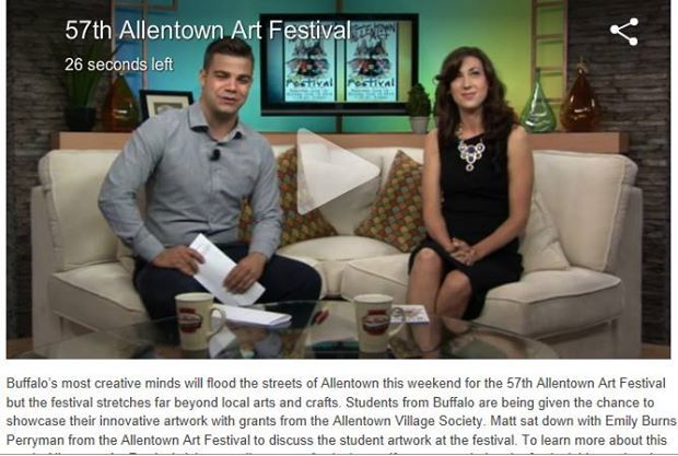 """Daytime talk show attire. Emily Burns Perryman appears on WNLO's """"Winging It Buffalo Style"""" morning program in June to promote the 57th annual Allentown Art festival in Buffalo, NY. http://cw23.com/2014/06/12/student-artwork-at-allentown-art-festival/"""