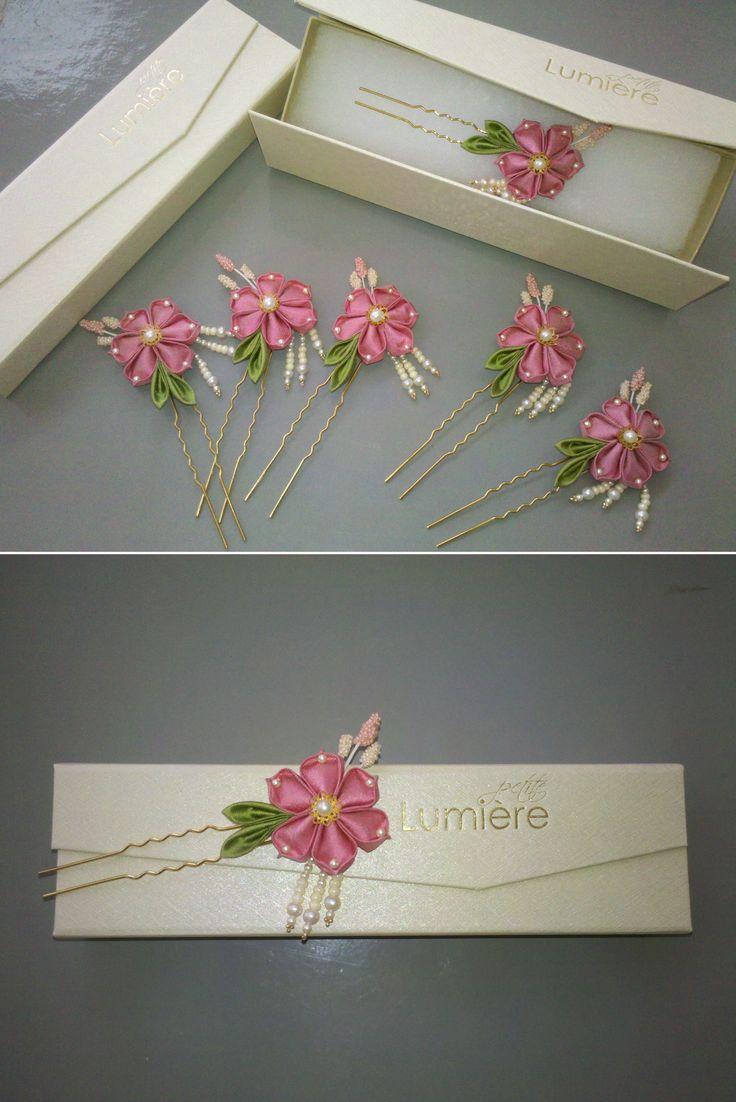 Rose pink bridesmaids hair accessory