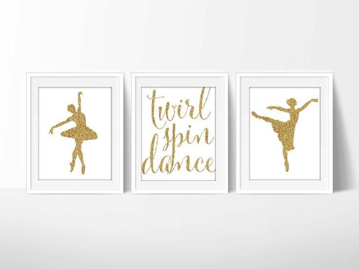 Ballet Prints, Dance Printable, Ballet Nursery 8x10 Glitter, Downloadable Art, Set of 3 Dance Printables, Digital JPG Files by PrincessSnap on Etsy https://www.etsy.com/listing/237760493/ballet-prints-dance-printable-ballet
