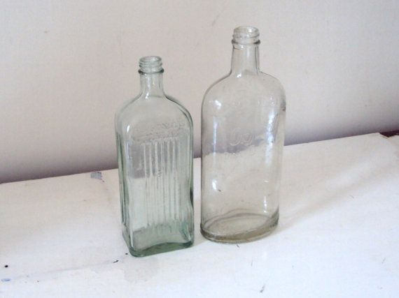 VINTAGE BOTTLE COLLECTION.Two Vintage green by acreativelifestyle