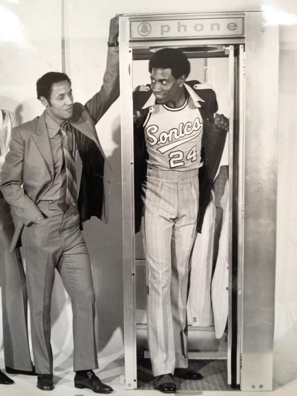"Promotional photo of Sonics player-coach Lenny Wilkens and Spencer Haywood. Woody was so good his nickname was ""superstar."""