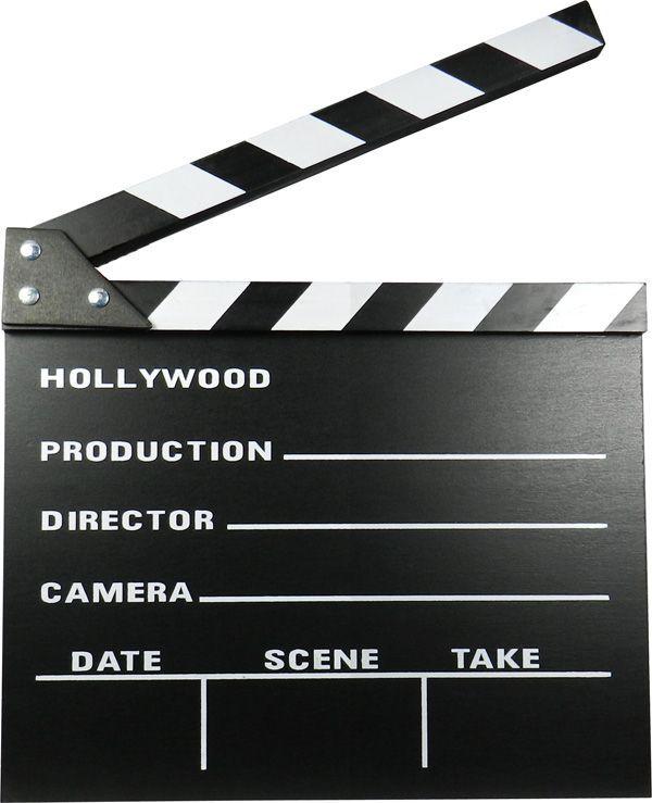 Reproducció de la clàssica claqueta de cine en blanc i negre. El material de la claqueta és fusta