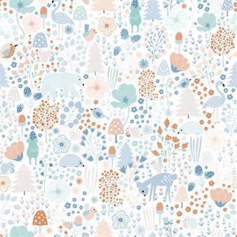 Agnes digital tapet från Photowall har ett lekfullt mönster av den svenska illustratören Cathy Nordström. Mönstret är inspirerat av naturen med sin flora och fauna och är full av söta detaljer. Det är tryckt på Photowalls Premium-kvalitet, en kraftigare non-woven tapet som tål hårda påfrestningar och som är enkel att torka av - perfekt för barnrummet!