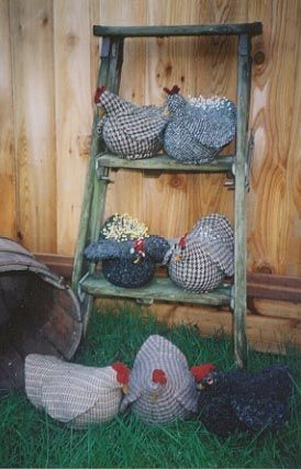primitive, country, wool, door stop, pin cushion, chicken, dolls, chickens