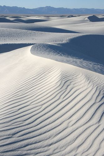 White Sands National Monument near Las Cruces, New Mexico; it's called 'monument' instead of park becaue it was created through the Antiquities Act, but it is part of the National Parks Service.