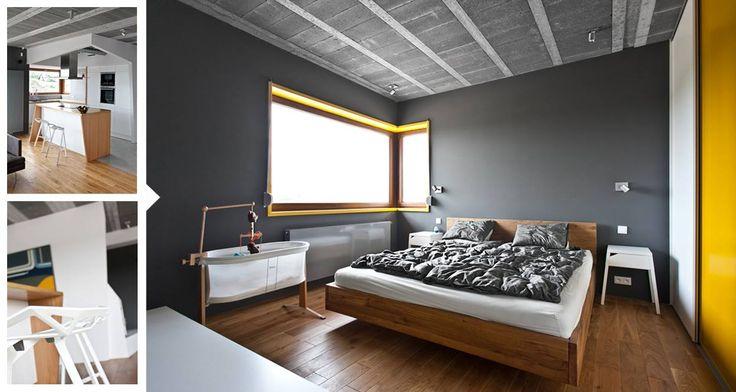Interiér z dielne poľského architektonického štúdia mode:lina. Umiernené odhalenie betónových konštrukcií v precíznom prevedení dopĺňajú kontrastné farebné prvky interiéru. Inšpirujte sa!