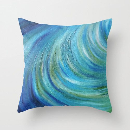 Teal, Ocean Wave, Art Pillow, Throw Pillow, Home Decor, Accent Pillow, with Optional Faux Down Insert