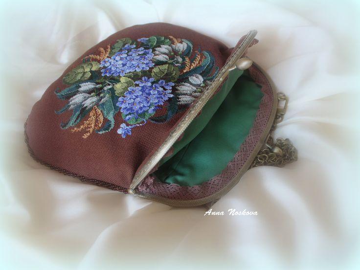 """Evening bag """"Light blue hydrangias"""""""