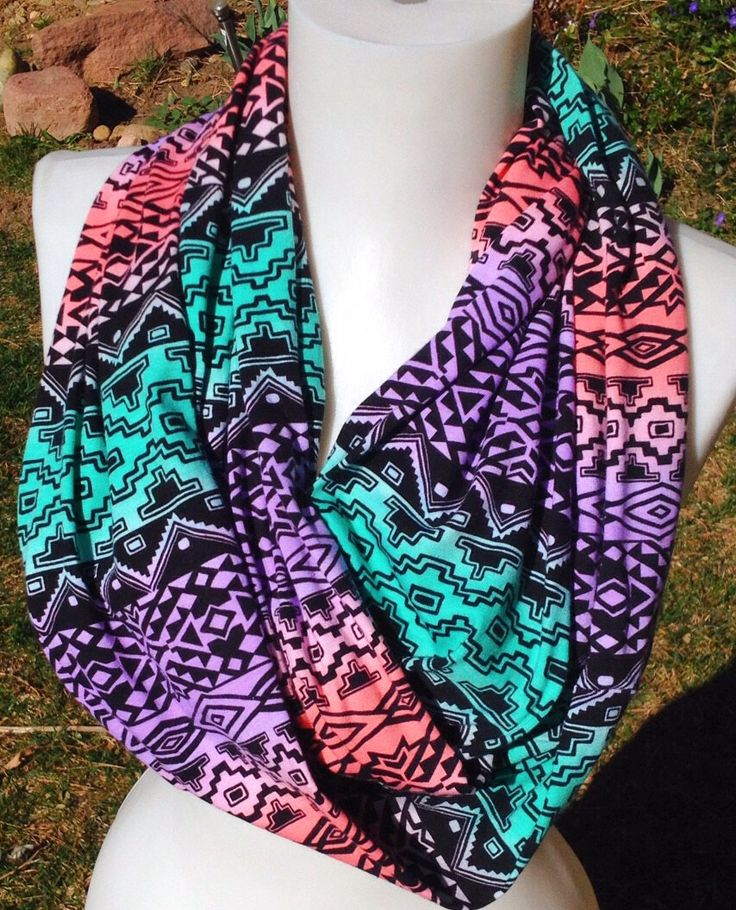 Spring Scarf, Tribal print Scarves, Mother's Day scarf, Lilac Aqua and coral Scarf, soft cotton Scarf, women's scarf, teen scarf by Phatcatpatch on Etsy