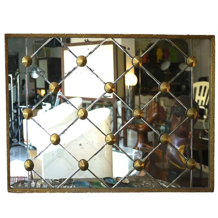Large wall mirror 50`s brass diamond design | From a unique collection of antique and modern wall mirrors at http://www.1stdibs.com/furniture/mirrors/wall-mirrors/