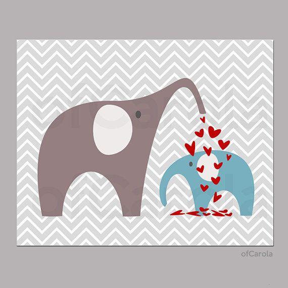 BABY NURSERY PRINT  Kids Room Chevron Love Elephant by ofCarola, $15.00