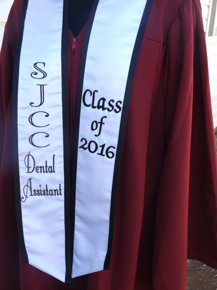 Graduation stoles heavyweight / White satin / Black satin trim /Black thread / slanted cut / design your own stoles class of 2016