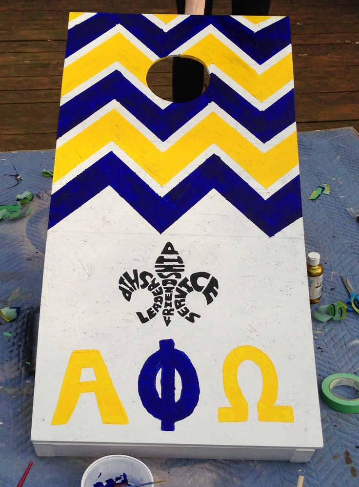 Alpha Phi Omega Cornhole Board Design  Could be a cute canvas art design as well