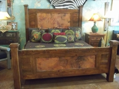 Rustic Bed Copper Wood Bed Custom Sizes Available Cierra Interiors Houston Austin Port
