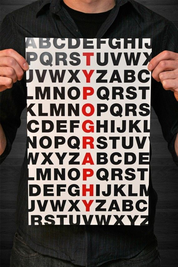 "This poster titled ""ABC TYPOGRAPHY"" will look great on a wall by its self or framed and matted in an office. $ 17.95"