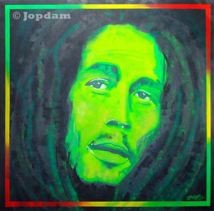 Title: Bob Marley - 100 x 100 cm - Acrylic and spray paint on canvas