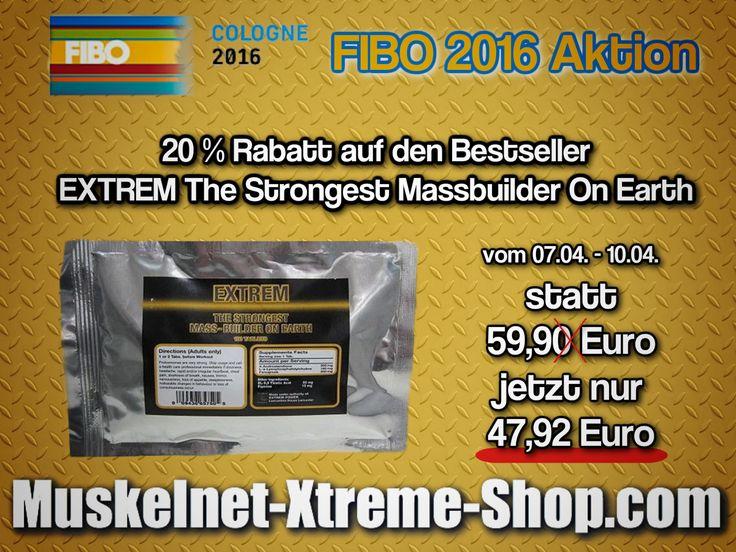 FIBO 2016 Aktion - EXTREM Massbuilder mit 20% Rabatt! Angebot gilt das gesamte FIBO Wochenende bis zum 10.04.2016! Schnell bestellen: http://j.mp/strongest-massbuilder #Muskelaufbau #Masseaufbau #Bodybuilding #Prohormone #Anabolika #Muskeln #Massbuilder # Kraftaufbau #FIBO #Power #Supplements