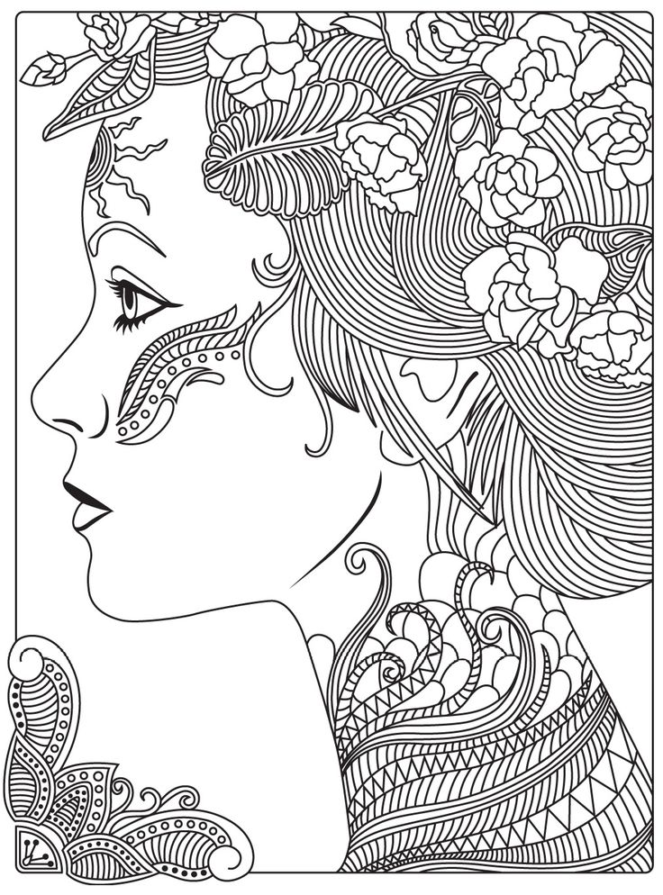 764 best Beautiful Women Coloring Pages for Adults images ...