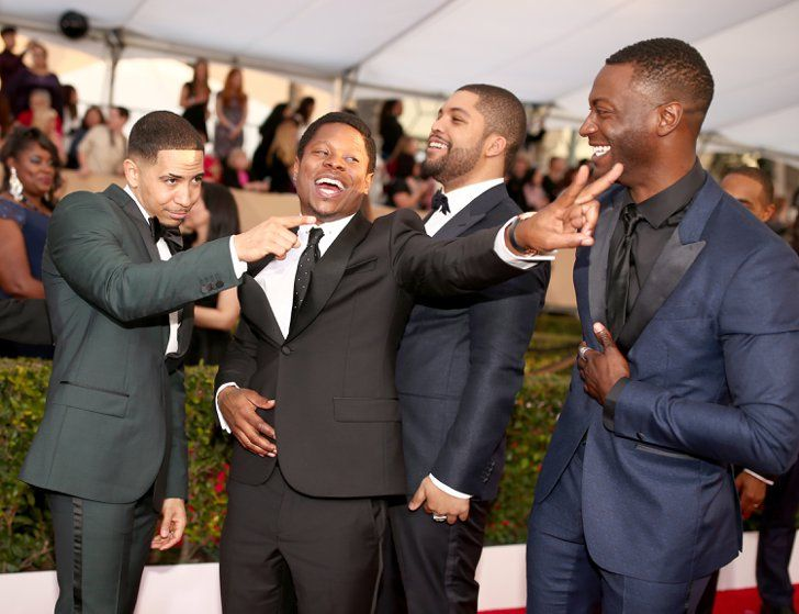 Pin for Later: 76 Moments From the SAG Awards That You Probably, Definitely Missed  Pictured: Neil Brown, Jr., O'Shea Jackson Jr., Jason Mitchell, and Aldis Hodge