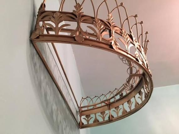 Gold Canopy Princesse lit bébé mur COURONNE voile drape Chambre Decor Ciel de lit