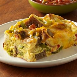 Tex-Mex Bagel Bake : Bagels give this Southwestern-flavored egg bake a wonderful texture to enjoy for a main meal entrée