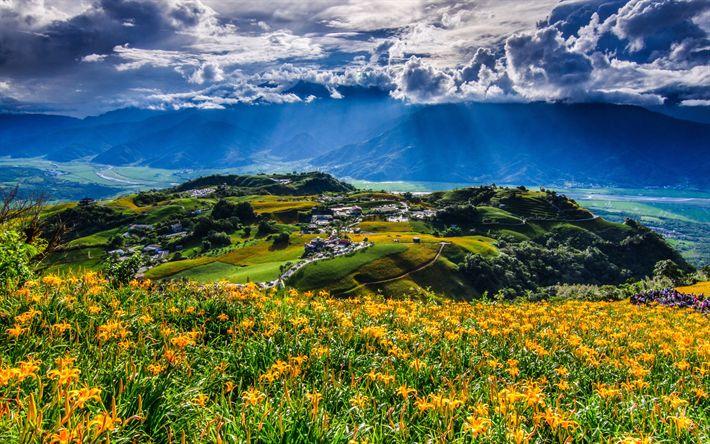 Lataa kuva Kiina, kylä, vuoret, kesällä, Taiwan, Aasiassa, HDR