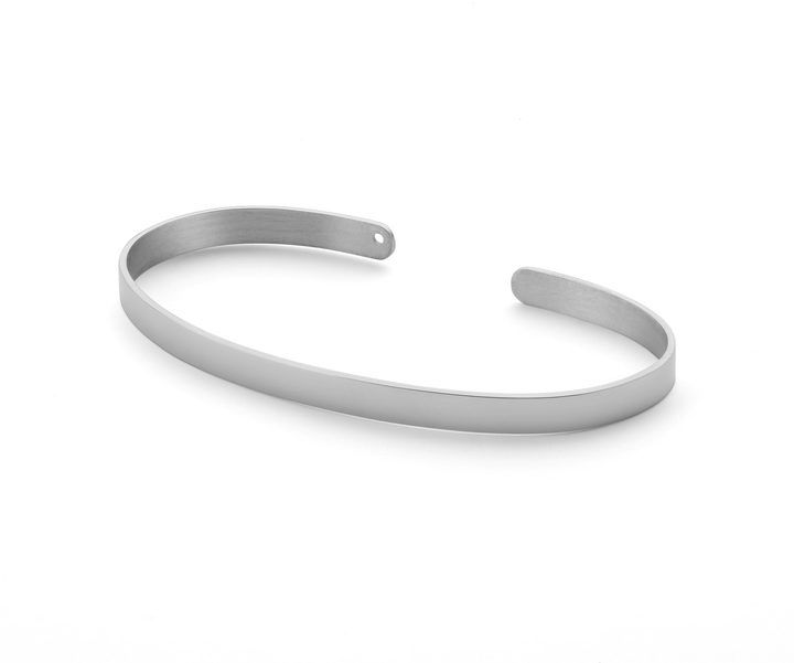 Ekria - Timeless Duo Palm Cuff Shiny White Gold