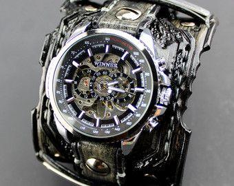 Steampunk Wrist Watch Leather Watch by CuckooNestArtStudio on Etsy
